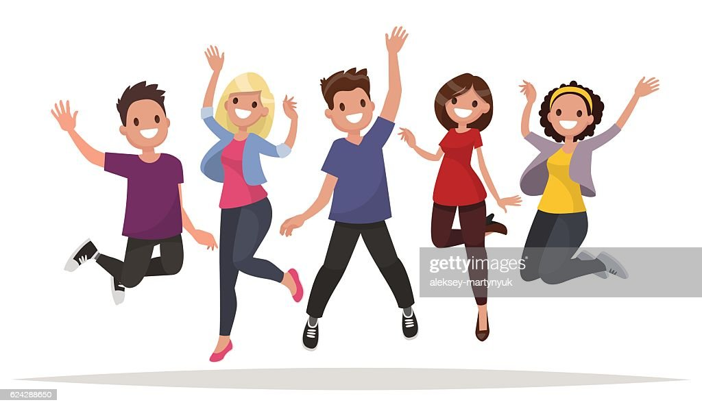 Happy group of people jumping on a white background.