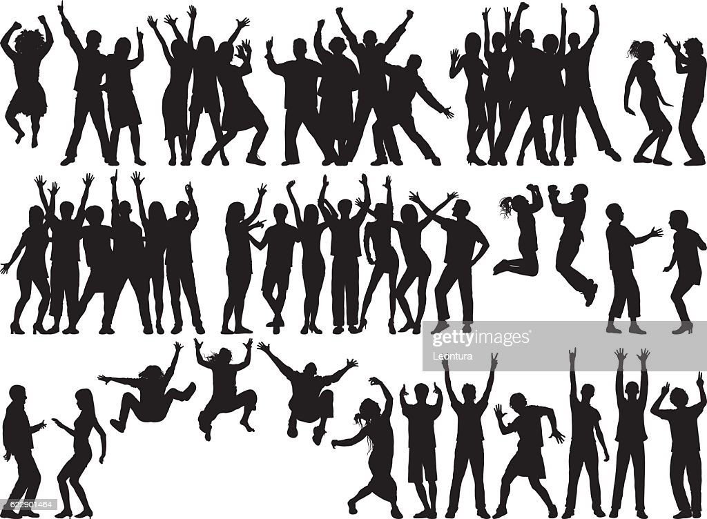 Happy Groups (People are Separate, Complete, Moveable, and Detailed) : stock illustration