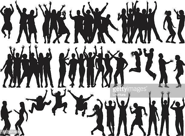 ilustraciones, imágenes clip art, dibujos animados e iconos de stock de happy groups (people are separate, complete, moveable, and detailed) - contorno