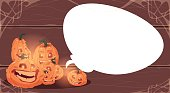 Happy Halloween Banner Different Pumpkins Over White Chat Bubble Copy Space Traditional Decoration Greeting Card
