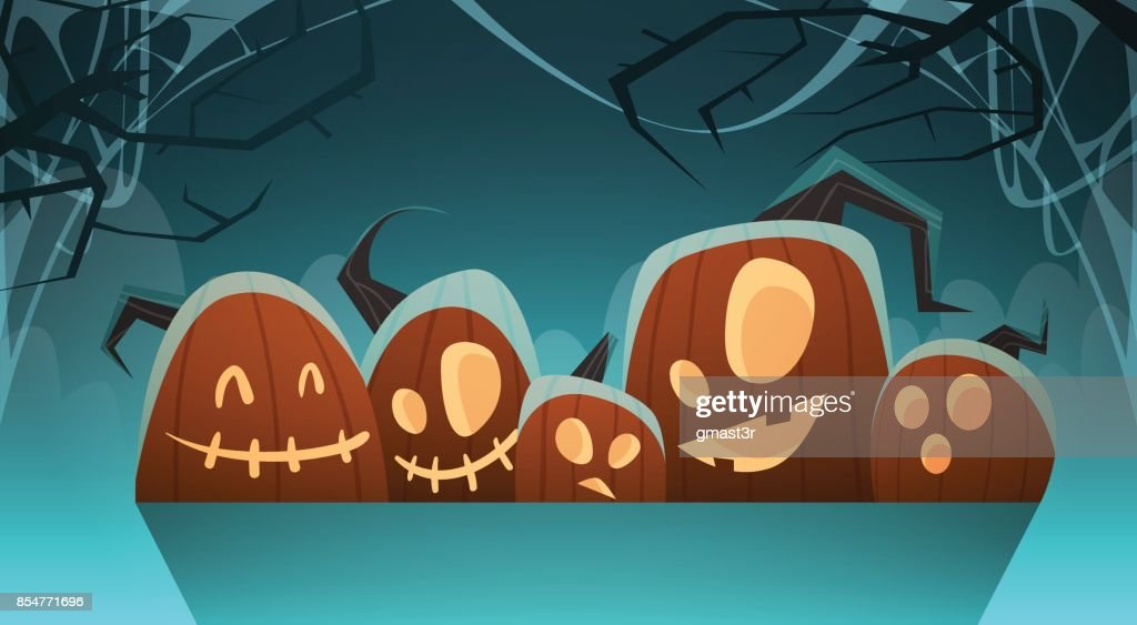 Happy Halloween Banner Different Pumpkins Traditional Decoration Greeting Card
