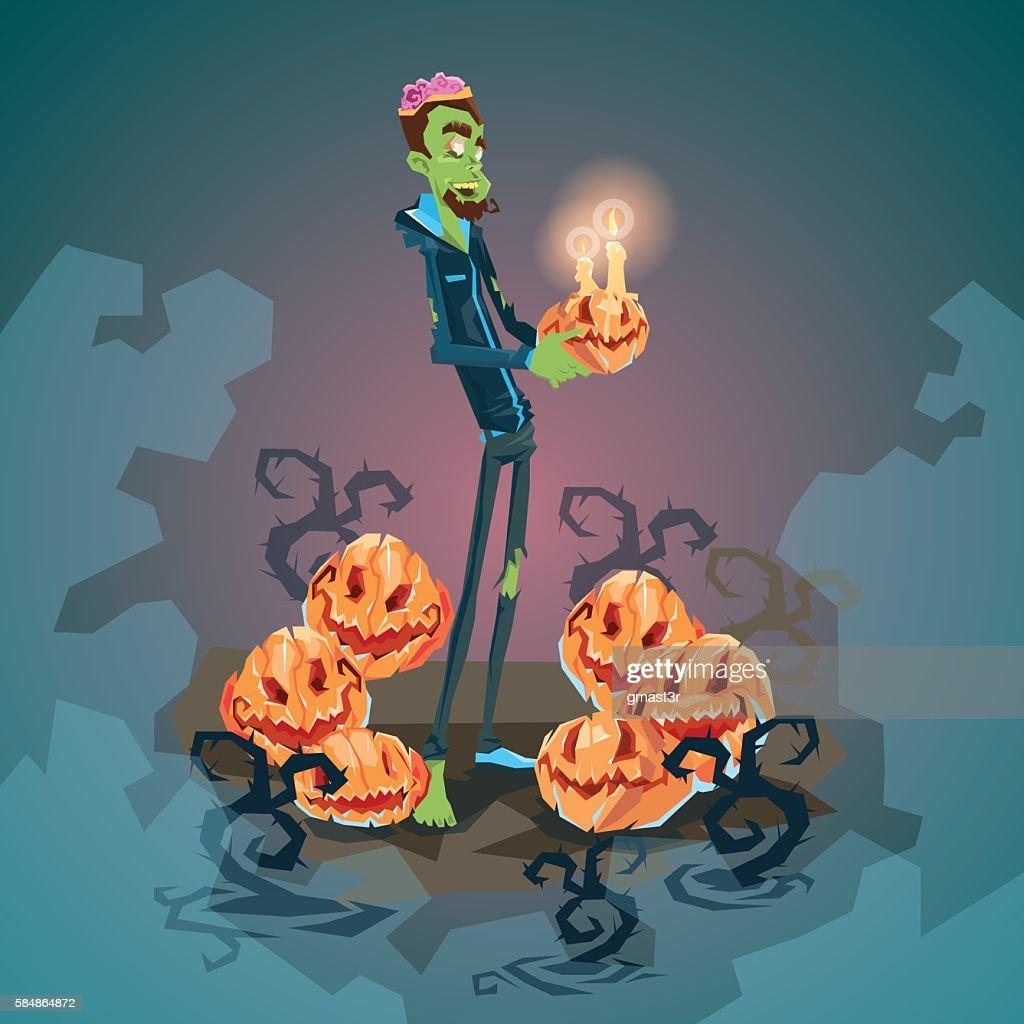 Happy Halloween Banner Invitation Card Zombie Man Hold