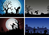 Happy Halloween banner set with zombies party
