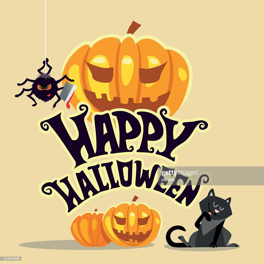 Happy Halloween Banner Template With Black Cat And Scary Spider ...