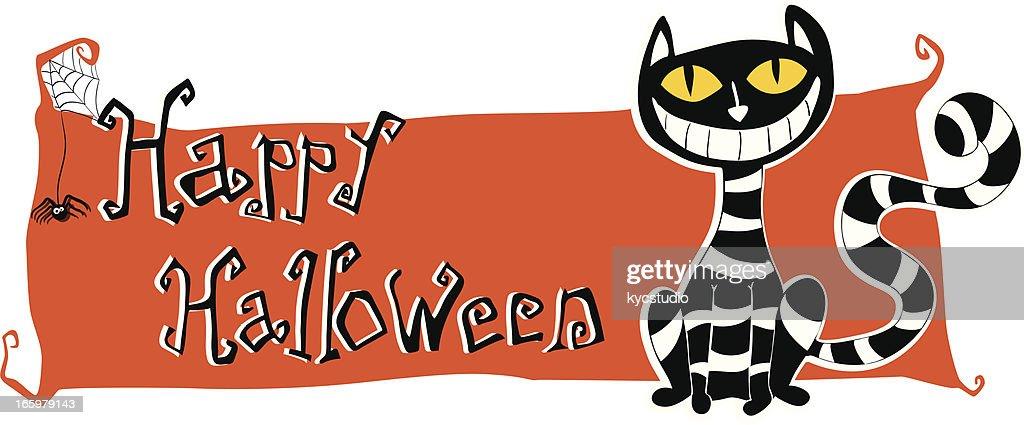 Happy Halloween Banner With Cat Vector Art | Getty Images