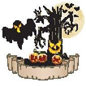 Happy Halloween banner with empty paper, ghosts, pumpkins, bats