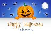 Happy Halloween - banner with funny pumpkin. Vector.