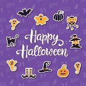 Happy Halloween Banner with Halloween Icons.