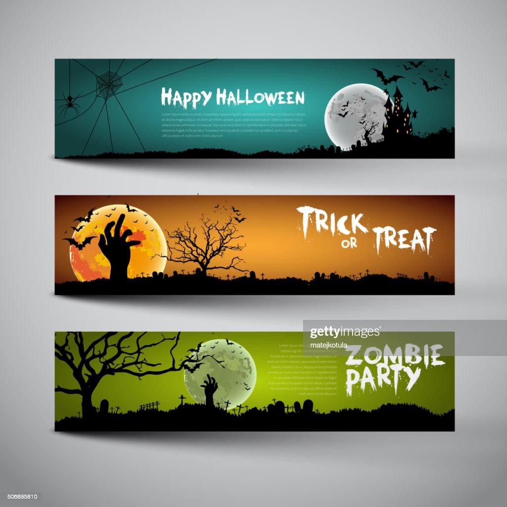 Happy Halloween banners set design