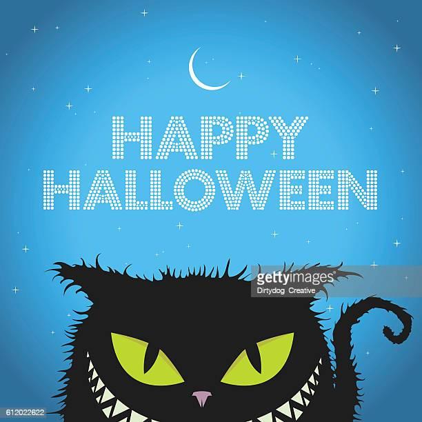 Happy Halloween Black Cat with evil smile