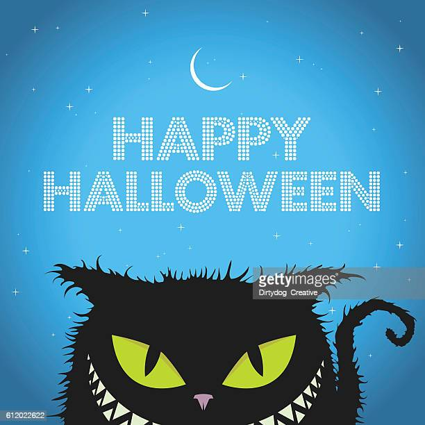 happy halloween black cat with evil smile - halloween cats stock illustrations