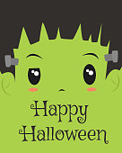 Happy Halloween Card Design, Frankenstein Cartoon Vector