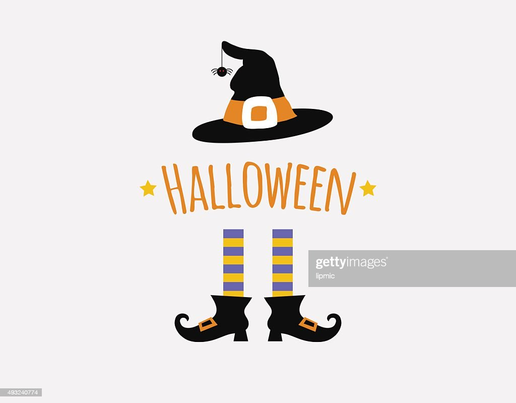 happy halloween card design with witchlegs and hat. vector illustration
