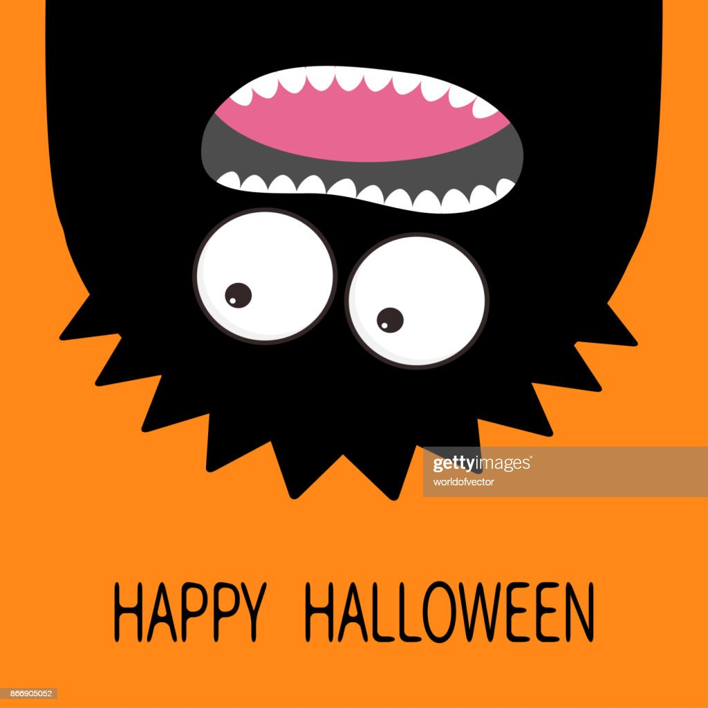 Happy Halloween card. Monster head silhouette. Two eyes, teeth, tongue. Hanging upside down. Black color. Funny Cute cartoon character. Baby collection Flat design. Orange background.