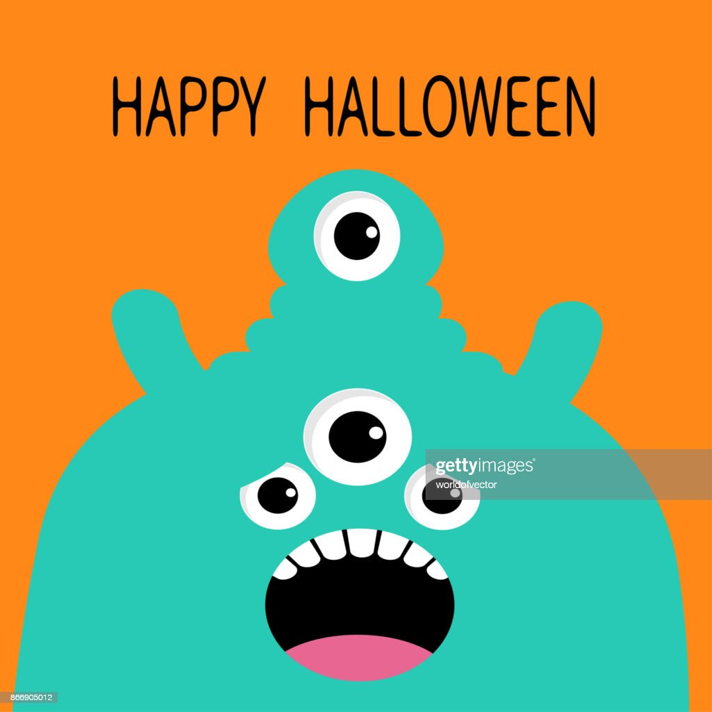 Happy Halloween card. Monster head silhouette with four eyes, teeth, tongue. Blue color. Funny Cute cartoon character. Baby collection. Flat design. Orange background.