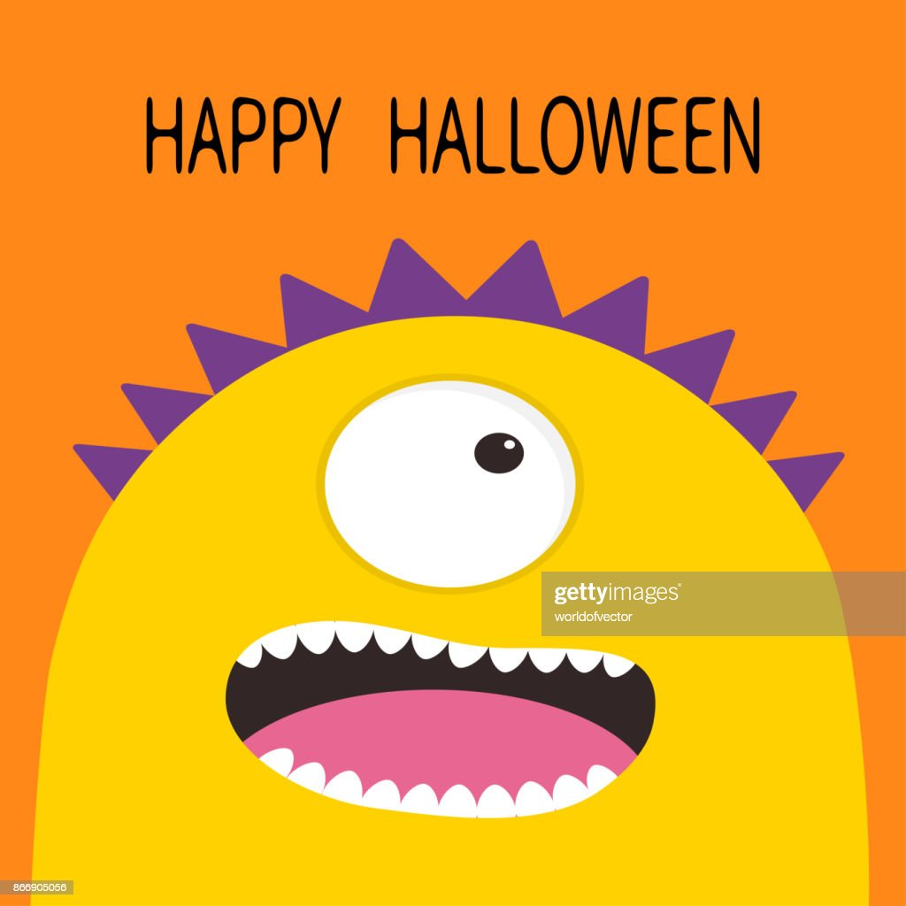 Happy Halloween card. Monster head with one eye, teeth, tongue. Yellow color. Funny Cute cartoon character. Baby collection. Flat design. Orange background.