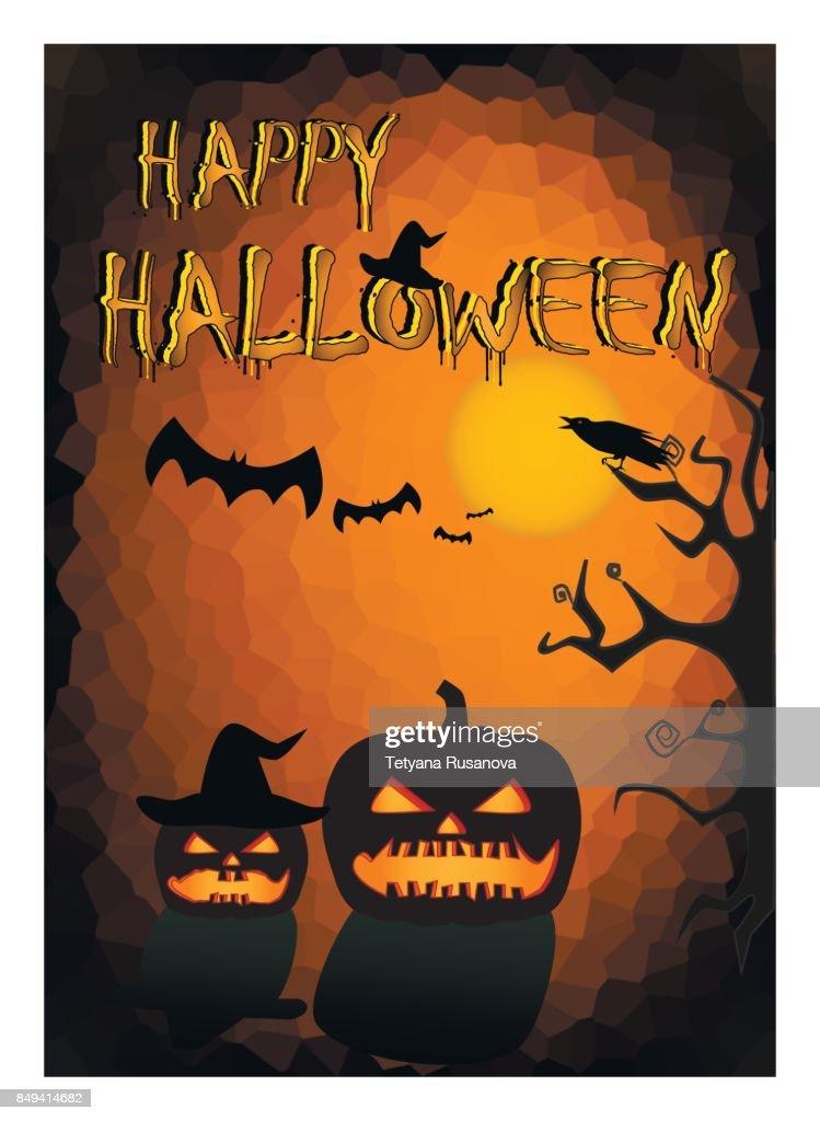 happy halloween card. pumpkins silhouettes on the orange black background, vertical