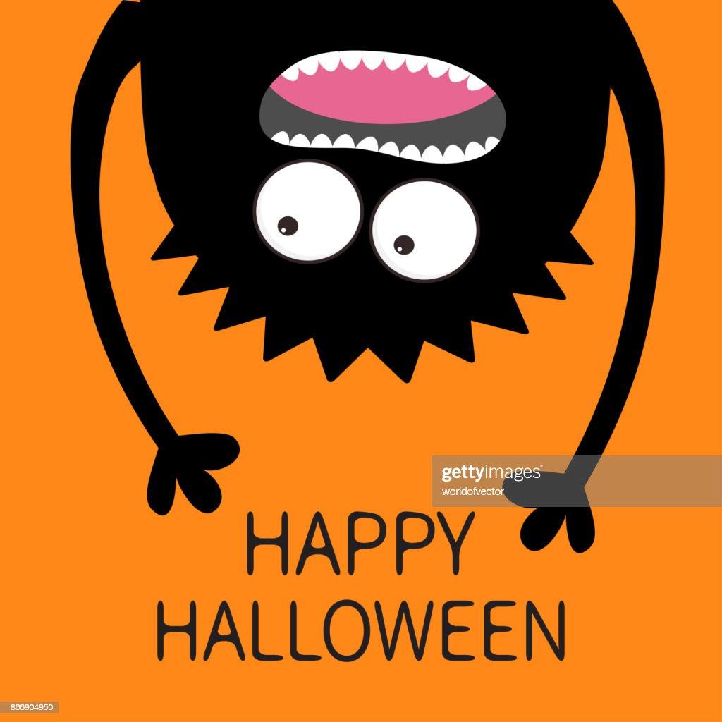 Happy Halloween card. Screaming monster head silhouette. Two eyes, teeth, tongue, hands. Hanging upside down. Black Funny Cute cartoon baby character.Flat design. Orange background.