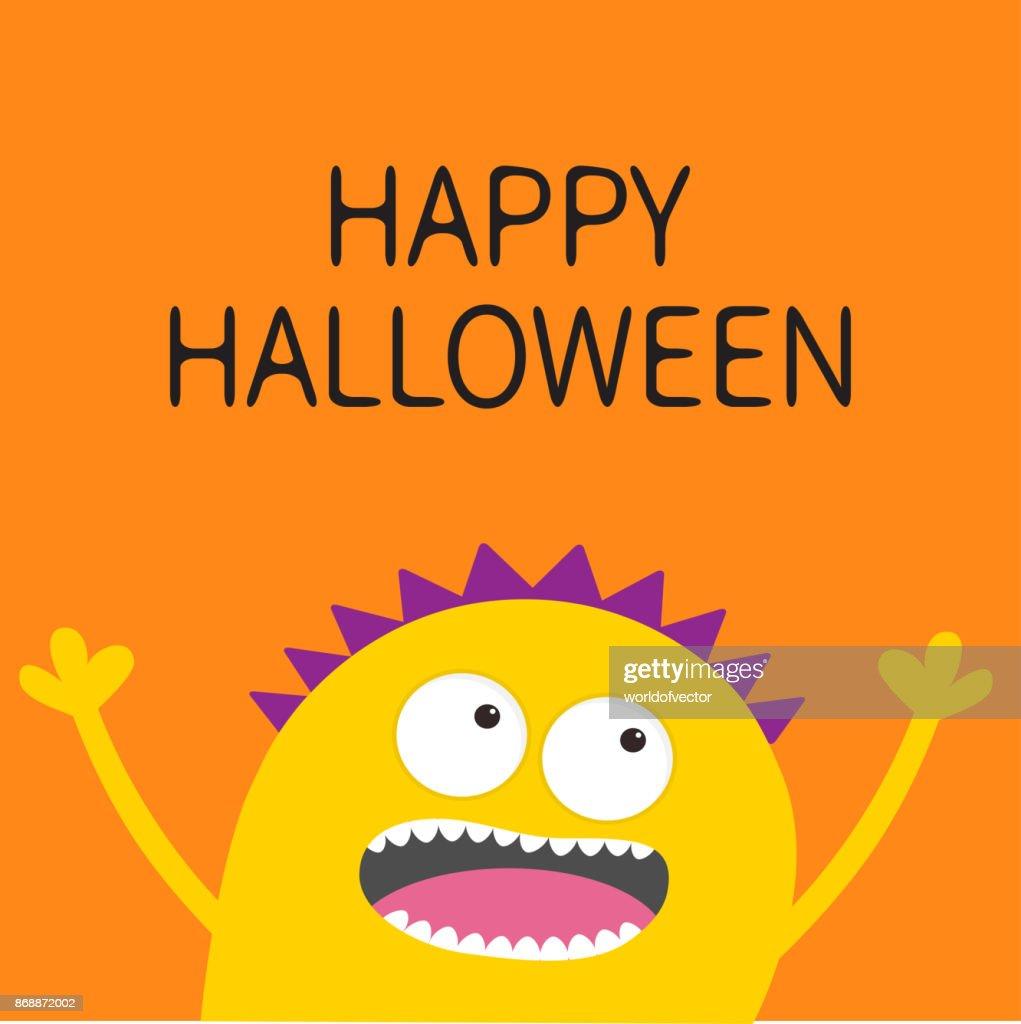 Gelbe Karte Lustig.Happy Halloweenkarte Schreien Gruselige Gelbe Monster Kopf