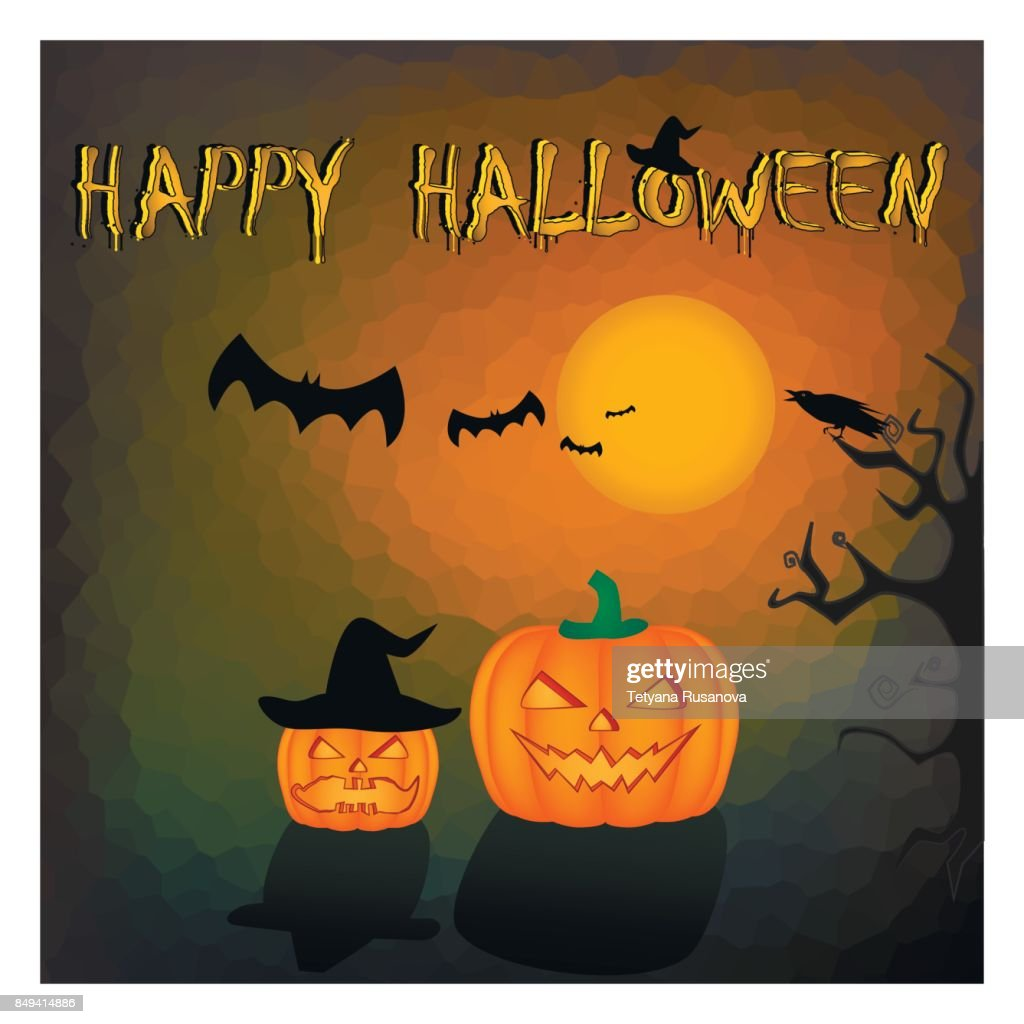happy halloween card. Two pumpkins on the orange black background, square