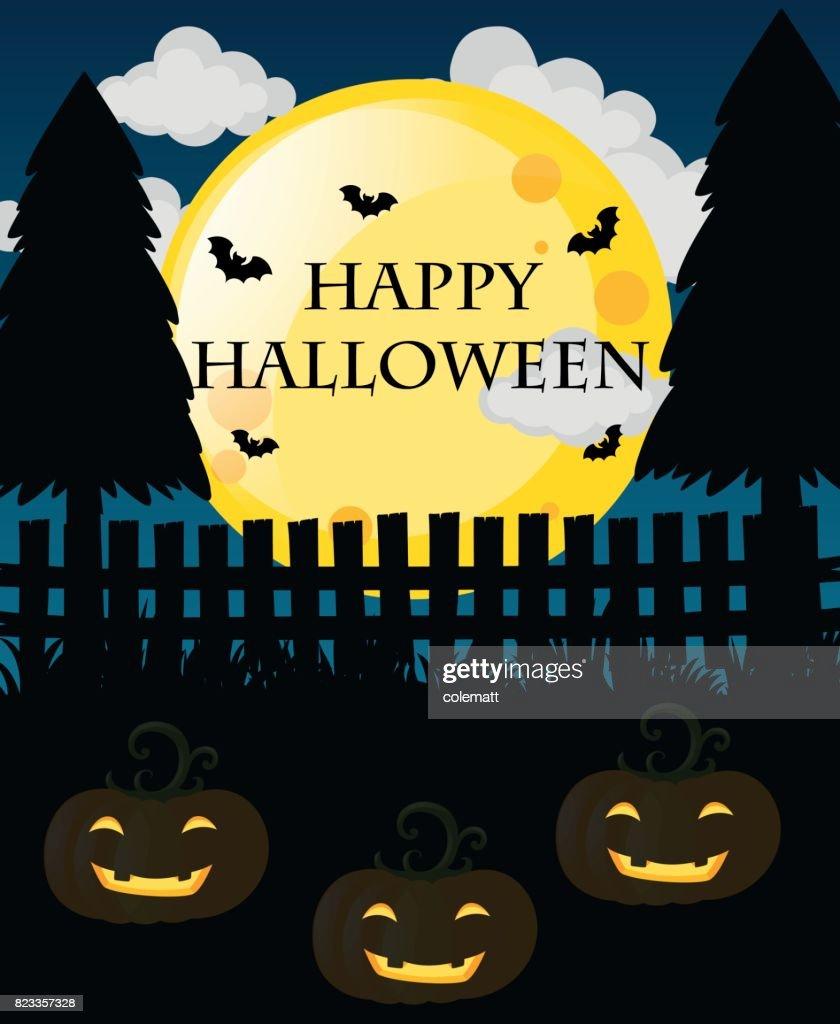 Happy halloween card with jack-o-lanterns