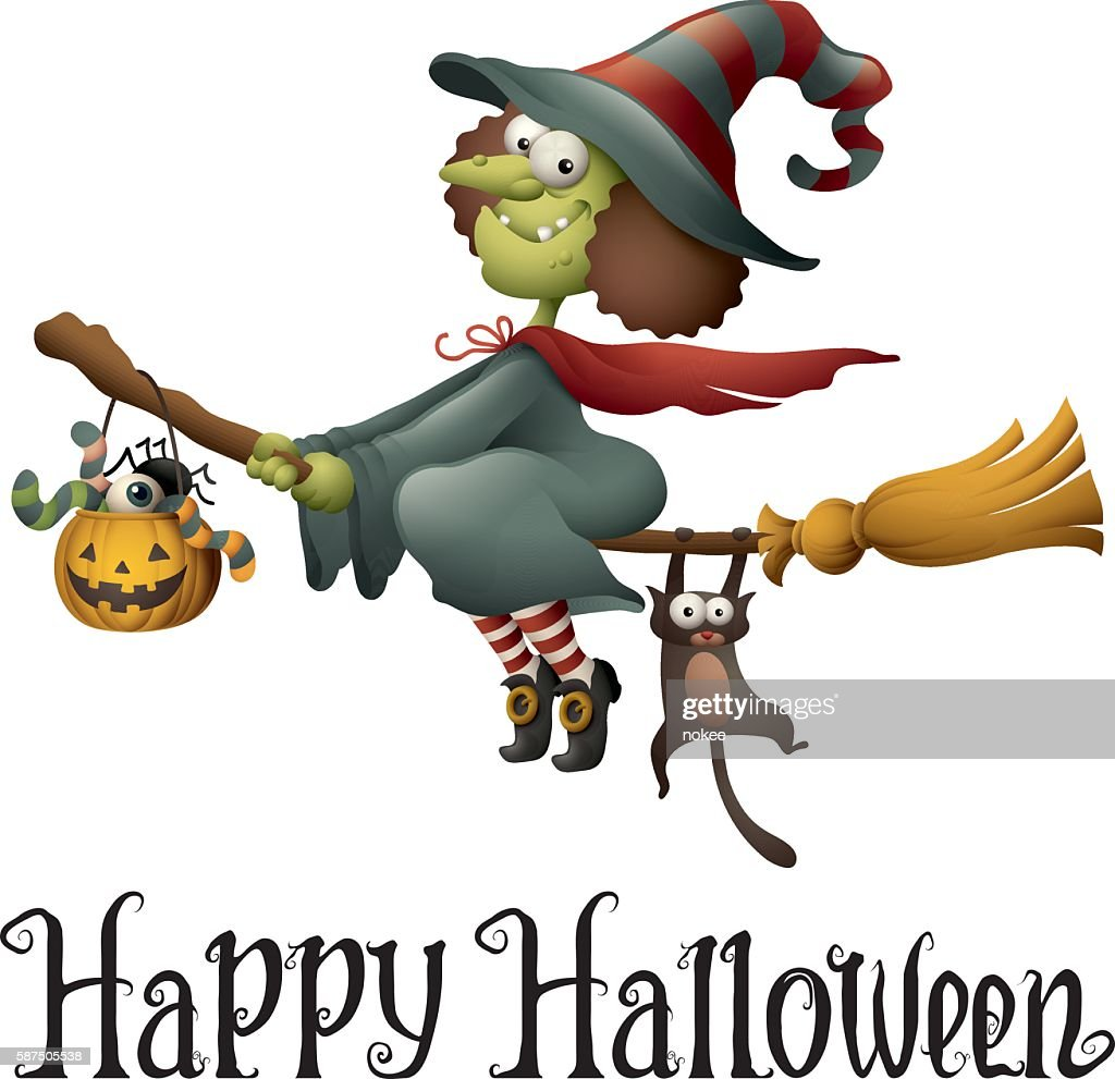 Happy Halloween - cartoon witch flying
