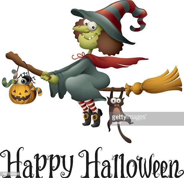 happy halloween - cartoon witch flying - broom stock illustrations, clip art, cartoons, & icons