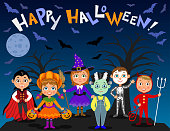Happy Halloween. Children in halloween costumes. Vampire Dracula, devil, witch, pumpkin, zombie, skeleton. Boys and girls on nights background. Vector characters.