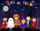 Happy Halloween. Children in halloween costumes. Vampire Dracula, devil, witch, pumpkin, ghost, skeleton. Boys and girls on nights background. Vector characters.