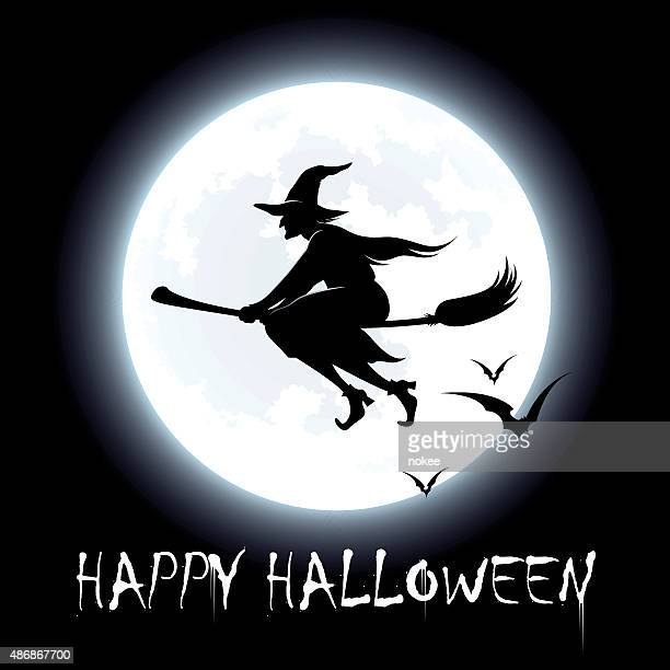 happy halloween - flying witch - broom stock illustrations, clip art, cartoons, & icons