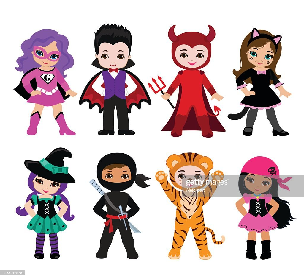 Happy Halloween. Funny little children in colorful costumes.