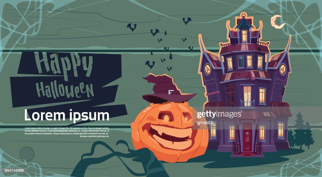Happy Halloween Gothic Castle With Ghosts And Pumpkin Holiday Greeting Card Concept