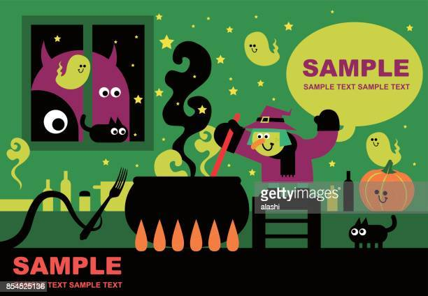 happy halloween greeting, witch cooking food in a cauldron (preparing and brewing a potion), kitchen background with cute ghost, cat, pumpkin, monster - cauldron stock illustrations, clip art, cartoons, & icons