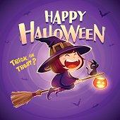 Happy Halloween. Halloween flying little witch.