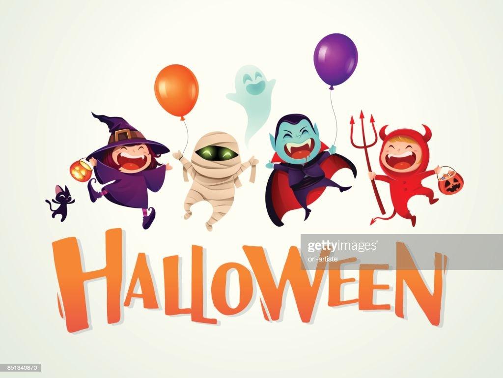 Fröhliches Halloween Halloween Kinder Kostümparty Vektorgrafik ...