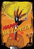 Happy Halloween hand robot killer vector background