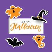 Happy Halloween Handwritten Lettering with Halloween Icons