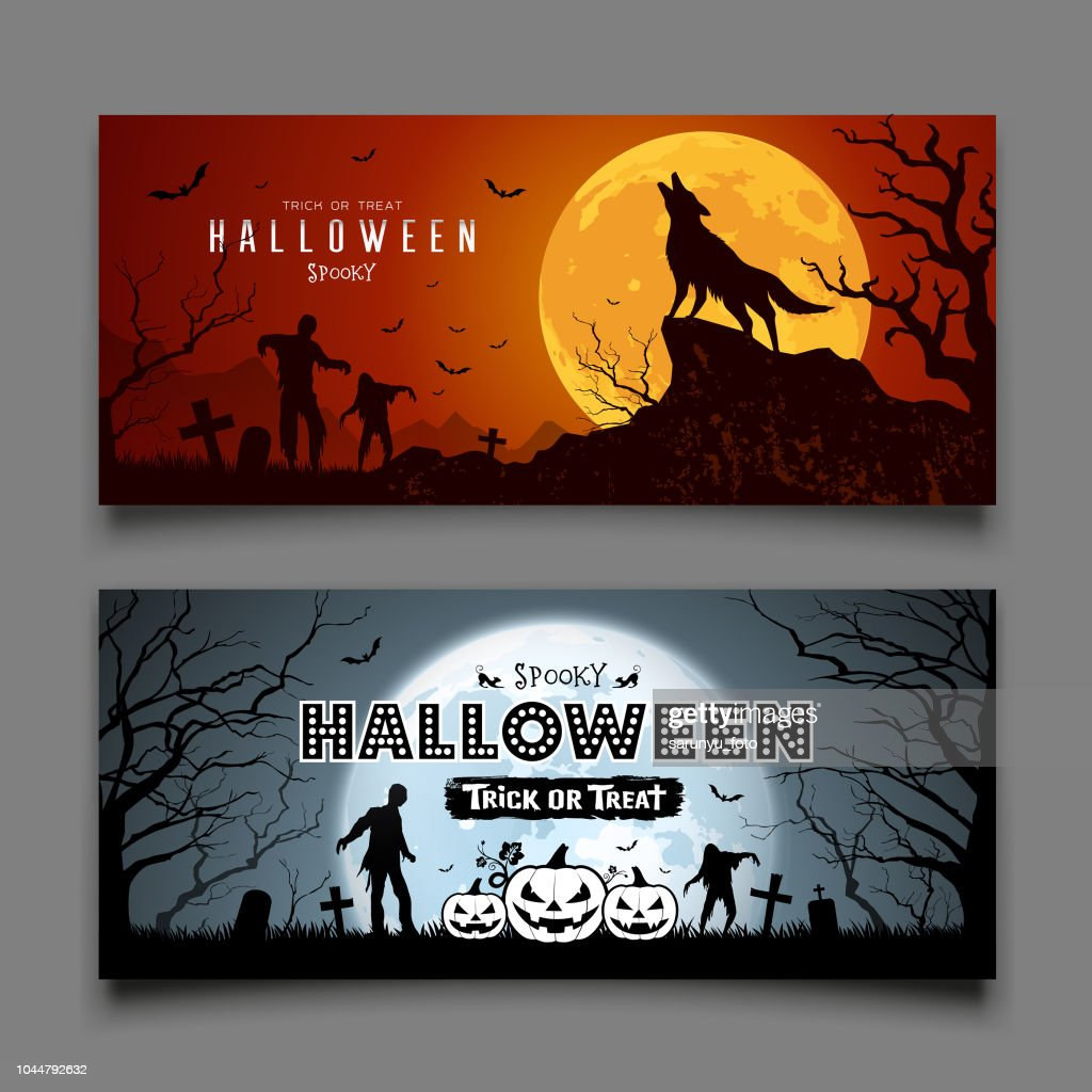 Happy Halloween howling wolf and Zombies and bat on moon night