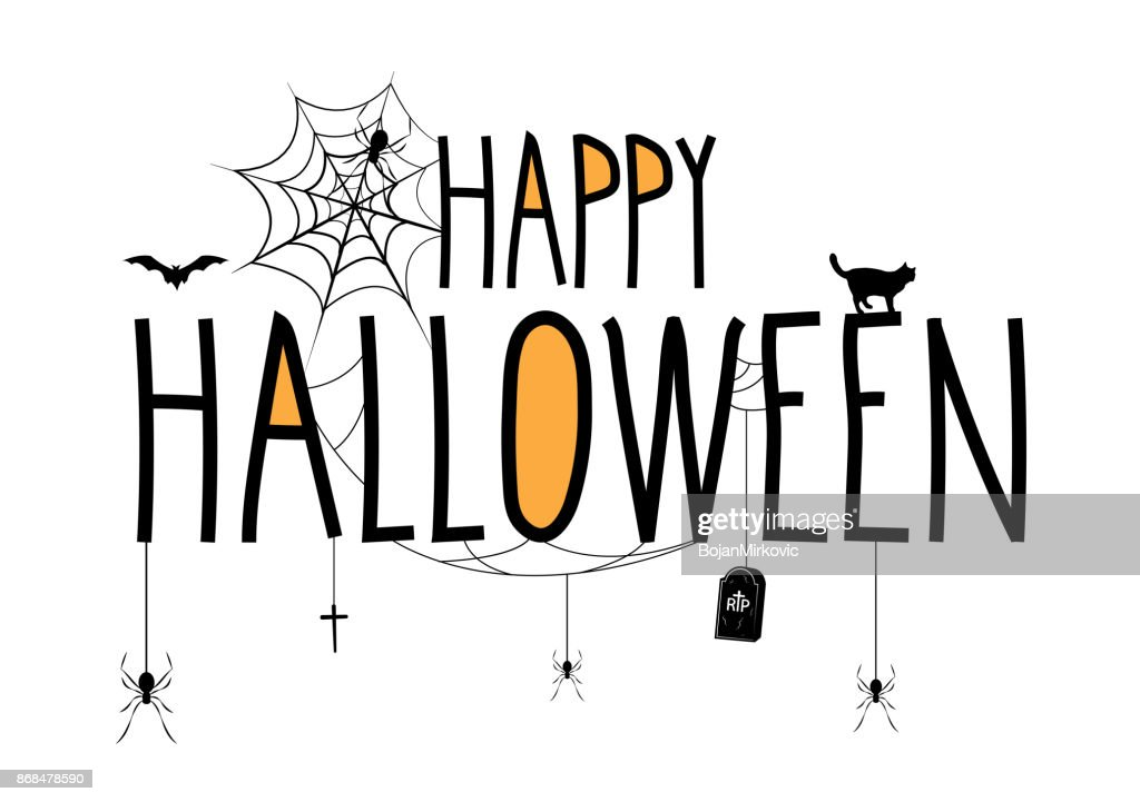 Happy Halloween Lettering Banner Handwritten Text With Hanging Spiders And Gravestone Vector Illustration High Res Vector Graphic Getty Images
