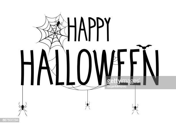 happy halloween schriftzug banner. handgeschriebener text mit web- und spinne - einzelwort stock-grafiken, -clipart, -cartoons und -symbole