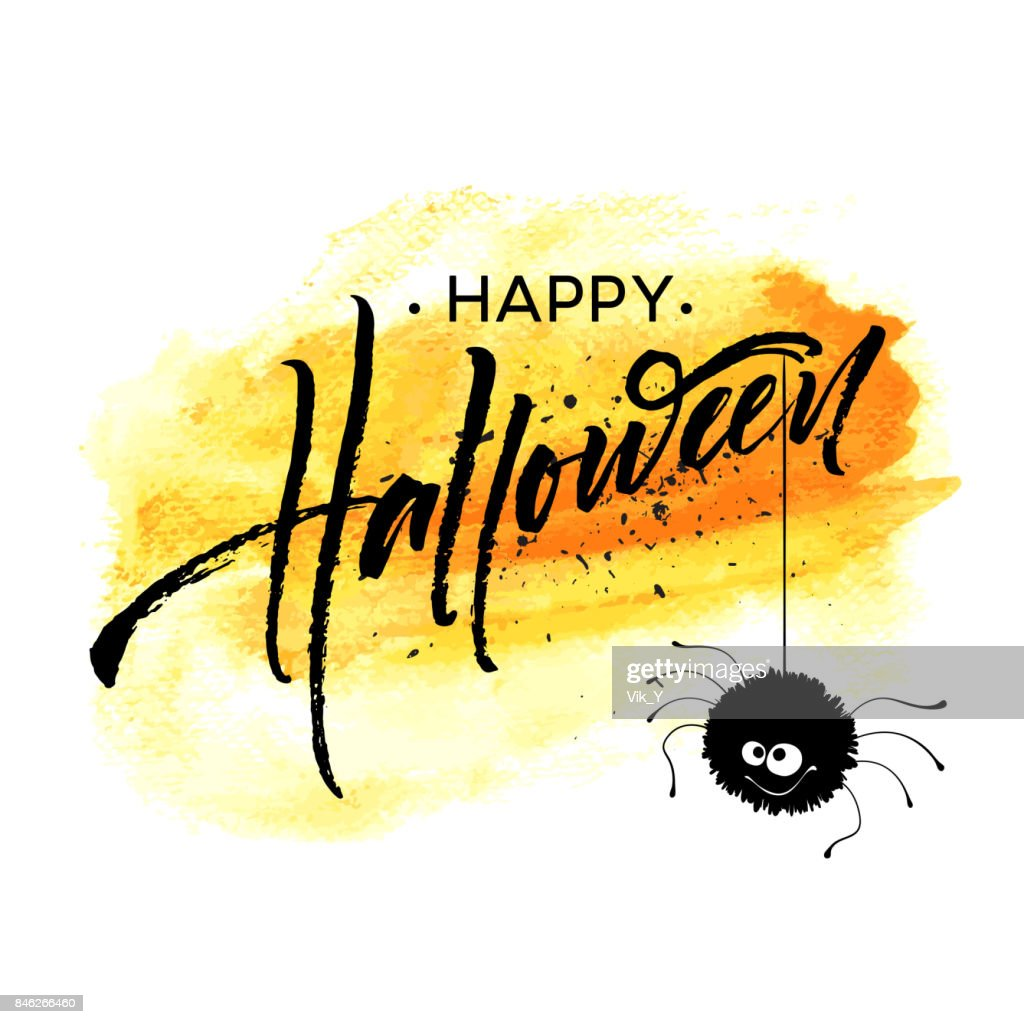 Happy Halloween Lettering Holiday Calligraphy For Banner Poster Greeting Card Party Invitation Vector Illustration High Res Vector Graphic Getty Images