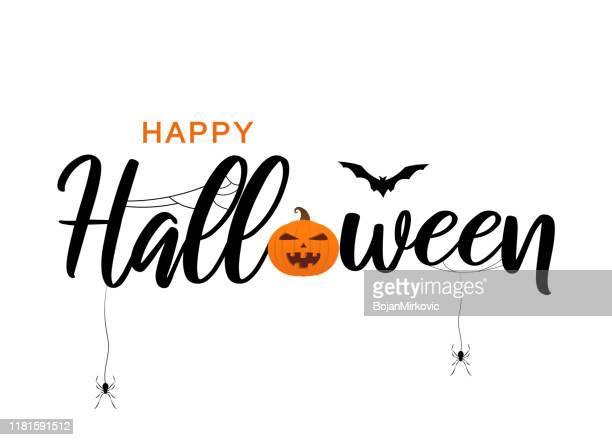happy halloween lettering with bat, spiders and pumpkin. vector - halloween stock illustrations