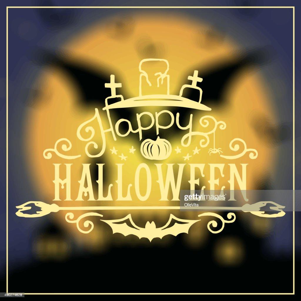 happy halloween message design on unfocused background vector art