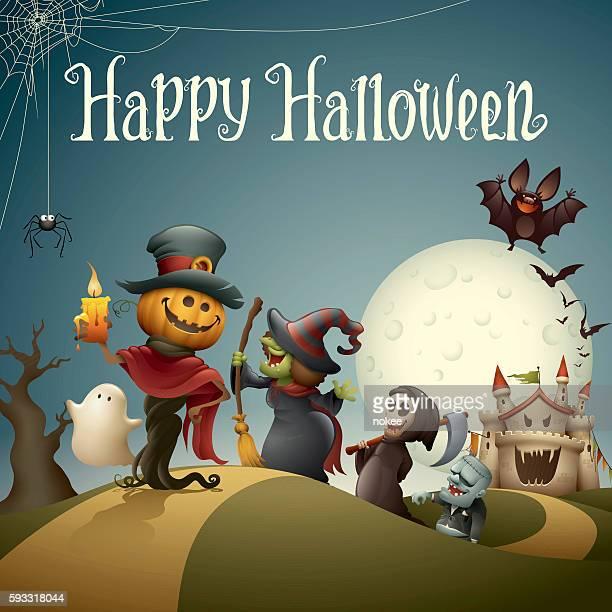 Happy halloween monsters marching