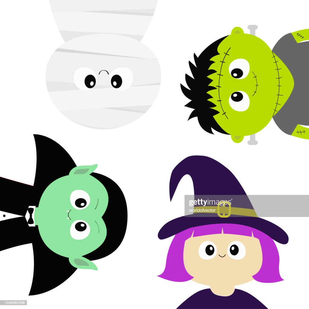 Happy Halloween. Mummy, Vampire count Dracula, whitch hat, zombie round face head body icon set. Cute cartoon funny spooky baby character. Greeting card. Flat design White background.