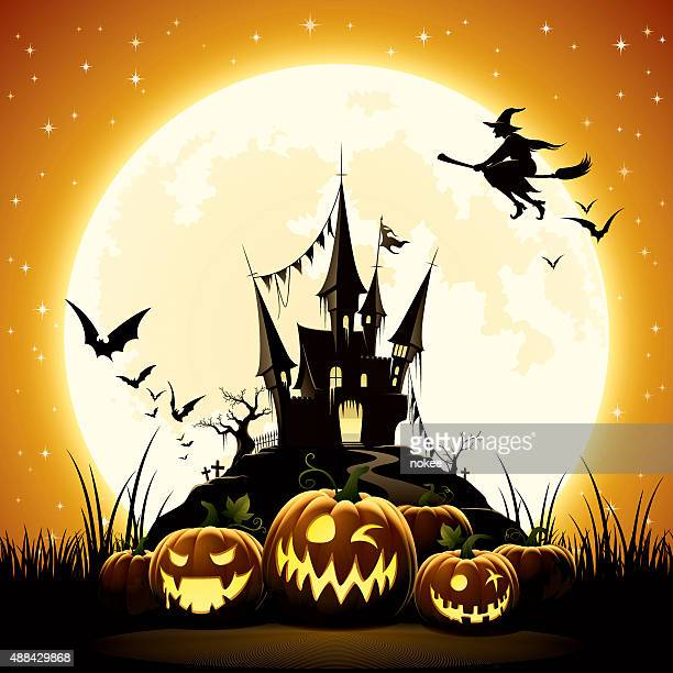 bildbanksillustrationer, clip art samt tecknat material och ikoner med happy halloween night - pumpa
