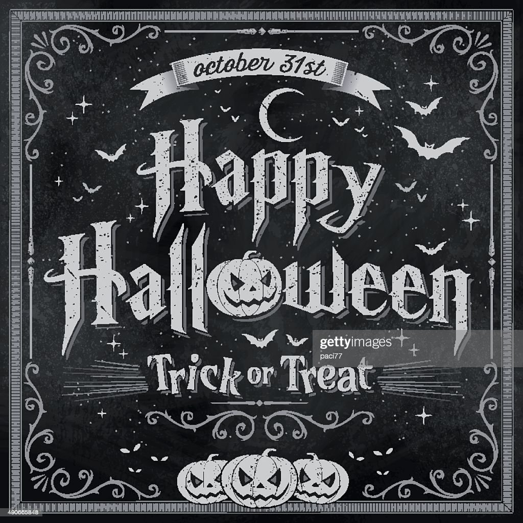 Happy Halloween on vintage Blackboard