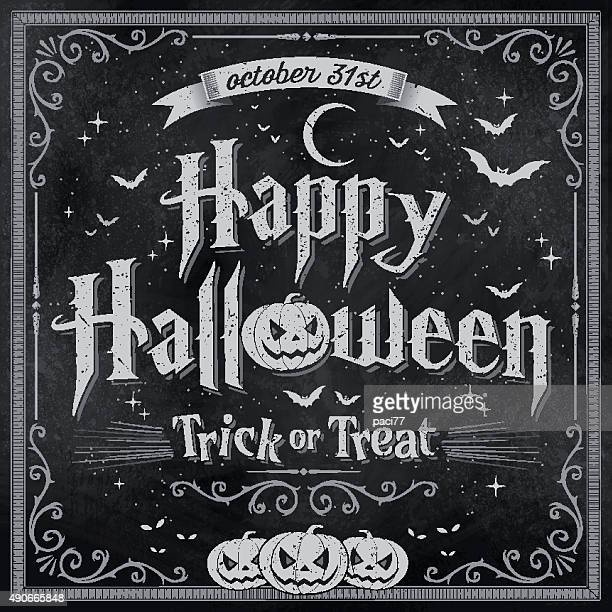 Happy Halloween on vintage Blackboard