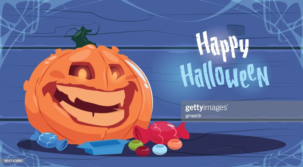 Happy Halloween Party Banner Big Pumpkin Traditional Decoration Greeting Card
