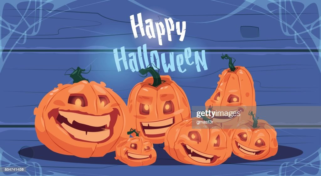 Happy Halloween Party Banner Different Pumpkins Traditional Decoration Greeting Card